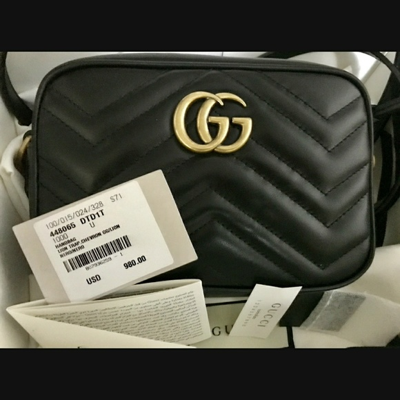 f58f779191c11 Gucci Marmont Mini Crossbody Camera Bag Black